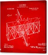 1914 Wright Brothers Flying Machine Patent Red Canvas Print