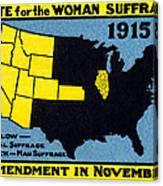 1915 Vote For Women's Suffrage Canvas Print