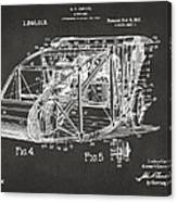 1917 Glenn Curtiss Aeroplane Patent Artwork 3 - Gray Canvas Print