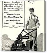 1921 - Moto Mower Lawnmower Advertisement Canvas Print