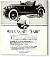1921 - Wills Sainte Claire Automobile Roadster Advertisement Canvas Print