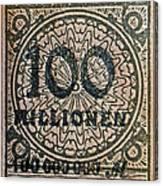 1923 100 Million Mark German Stamp Canvas Print
