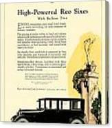 1924 - Reo Six Automobile Advertisement - Color Canvas Print