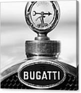 1928 Bugatti Type 44 Cabriolet Hood Ornament - Emblem Canvas Print