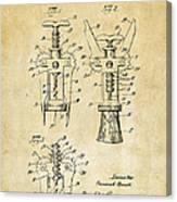 1928 Cork Extractor Patent Art - Vintage Black Canvas Print