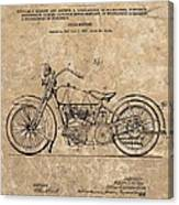 1928 Harley Davidson Motorcyle Patent Illustration Canvas Print
