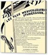 1929 - Studebaker Automobile Franch Advertisement Canvas Print