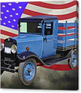 1929 Blue Chevy Truck And American Flag Canvas Print