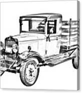 1929 Chevy Truck 1 Ton Stake Body Drawing Canvas Print