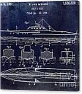 1930 Ship's Hull Patent Drawing Blue Canvas Print