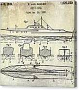1930 Ship's Hull Patent Drawing Canvas Print