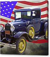 1930 Model A Ford Pickup Truck And American Flag Canvas Print