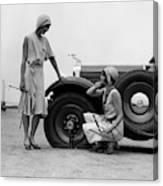 1930s Two Women Confront An Automobile Canvas Print