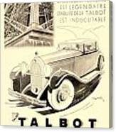 1931 - Talbot French Automobile Advertisement Canvas Print
