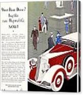 1933 - Hupmobile Sedan Automobile Advertisement - Color Canvas Print