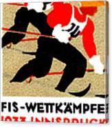 1933 Austrian Ski Race Poster Canvas Print