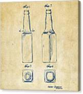 1934 Beer Bottle Patent Artwork - Vintage Canvas Print