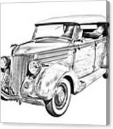 1936 Ford Phaeton Convertible Illustration  Canvas Print