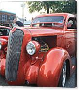 1936 Plymouth Two Door Sedan Front And Side View Canvas Print
