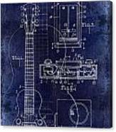 1937 Gibson Electric Guitar Patent Drawing Blue Canvas Print