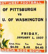 1937 Rose Bowl Ticket Canvas Print