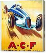1938 - Automobile Club De France Poster - Reims - George Ham - Color Canvas Print