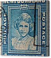 1938 Queen Elizabeth II Newfoundland Stamp Canvas Print