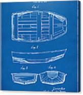 1938 Rowboat Patent Artwork - Blueprint Canvas Print