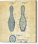 1939 Bowling Pin Patent Artwork - Vintage Canvas Print