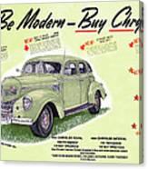 1939 Imperial Vintage Automobile Ad Canvas Print