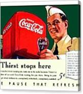 1940 - Coca-cola Advertisement - Color Canvas Print