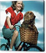 1940s 1950s Smiling Teen Girl Riding Canvas Print