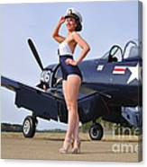 1940s Style Navy Pin-up Girl Posing Canvas Print