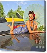 1940s Style Pin-up Girl With Parasol Canvas Print