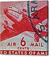 1941 - 1944 Six Cents Air Mail Stamp -  U. S. Army Cancelled Canvas Print