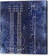 1941 Gibson Electric Guitar Patent Drawing Blue Canvas Print