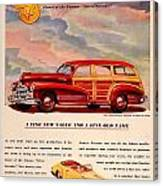 1946 - Pontiac Woodie Station Wagon And Convertible Advertisement - Color Canvas Print