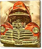 1948 Chev Red Gold Metal Art Canvas Print
