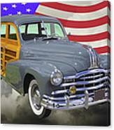 1948 Pontiac Silver Streak Woody And American Flag Canvas Print