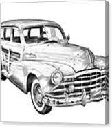 1948 Pontiac Silver Streak Woody Illustration Canvas Print