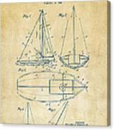 1948 Sailboat Patent Artwork - Vintage Canvas Print