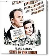 1948 - State Of The Union Motion Picture Poster - Spencer Tracy - Katherine Hepburn - Mgm - Color Canvas Print