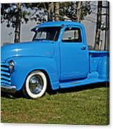 1950 Baby Blue Chevrolet Pu Canvas Print