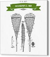 1950 Lacrosse Stick Patent Drawing - Retro Green Canvas Print