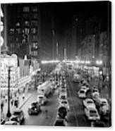 1950s 1953 Night Scene Of Chicago State Canvas Print