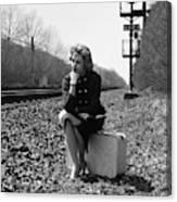1950s 1960s Woman Sad Worried Facial Canvas Print