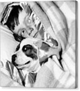 1950s Boy Hiding Under Blanket In Bed Canvas Print