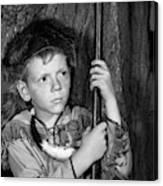 1950s Boy Wearing Raccoon Skin Hat Canvas Print