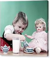 1950s Little Girl Toddler And Baby Doll Canvas Print