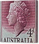 1952-1958 Australia Queen Elizabeth II Stamp Canvas Print